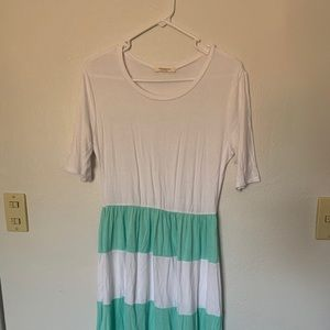 White and mint dress